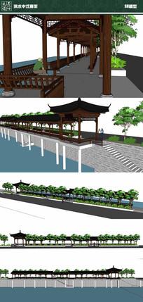 滨水中式廊架SU模型