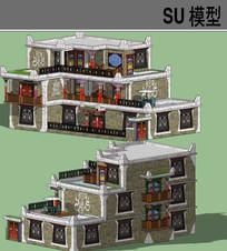藏式民居SU模型