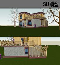 藏式住宅su模型图片