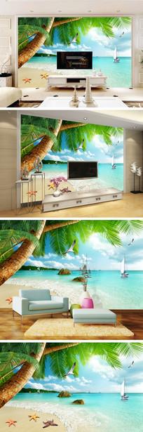 海滩海景椰树海鸥背景墙