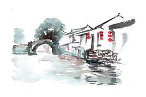 河道景色插画 PSD