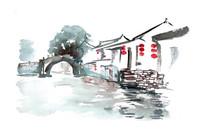 河道景色插画
