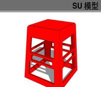 红色小凳子模型