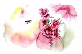 花朵与蜜蜂插画 PSD
