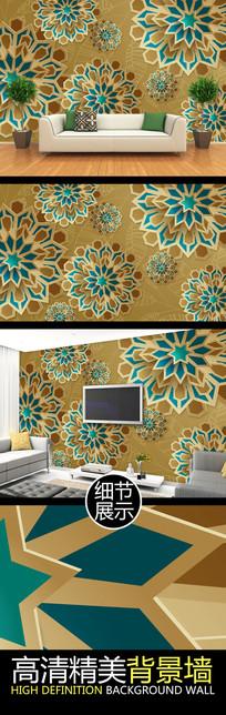 金色浮雕立体花纹艺术背景墙