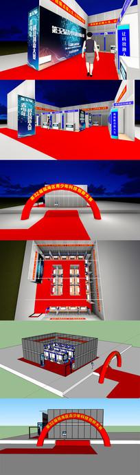 科技标摊展厅灯箱充气拱门