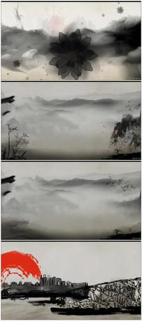 魅力中国水墨画卷背景视频素材 mp4