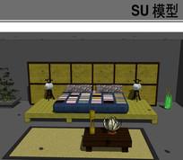 日式仿古床具模型