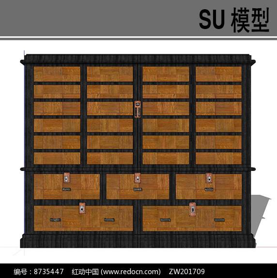 日式古典储物柜模型skp素材下载_室内装修设烟台建筑设计师招聘图片