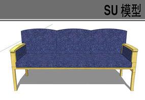 日式蓝色布料沙发