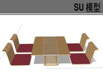 日式木质条形桌椅
