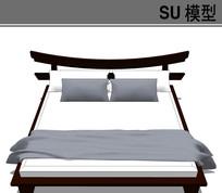 日式现代风格床模型