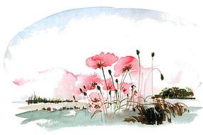 山野里的小花插画 PSD