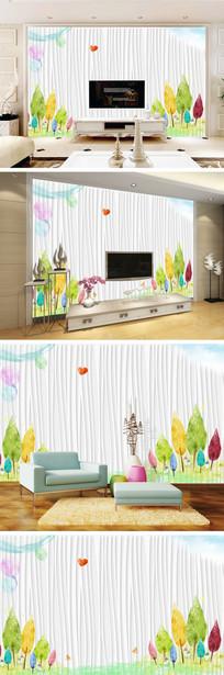 水彩画大树蝴蝶气球条纹背景墙