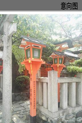 寺庙灯柱小品