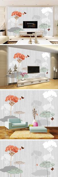 现代简约花朵蝴蝶背景墙