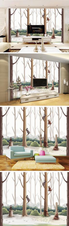 现代简约树林小熊背景墙