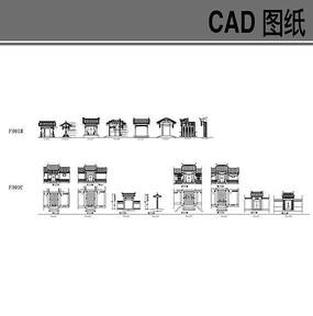 中式古典大门CAD立面