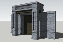 中式庭院门模型