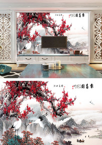 报喜图中式电视背景墙