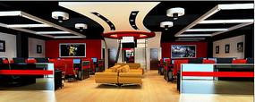 红黑拼接网咖模型