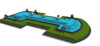 园林雕塑景观水池模型 skp