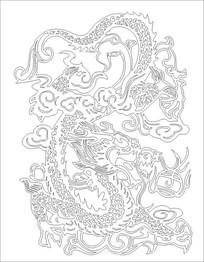 双龙戏珠雕刻图案