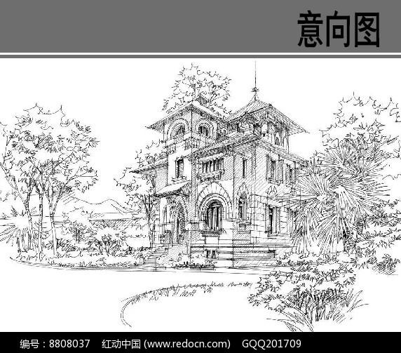 别墅建筑钢笔画