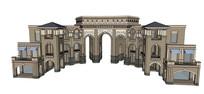 城堡造型大门模型