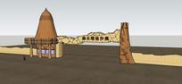 地质公园入口大门模型