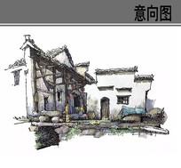 古村落建筑手绘