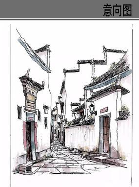 景观透视手绘效果图_古镇建筑写生_红动网