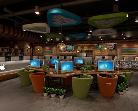 黑色木头风网咖咖啡室效果图 JPG