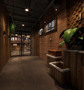 黑色木头风网咖入口形象墙 JPG