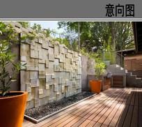 建筑空间景墙意向图