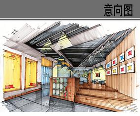咖啡厅手绘效果图