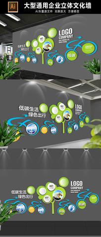 绿色出行环保文化墙展板