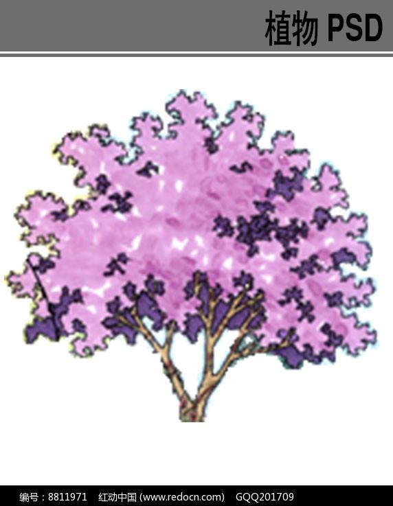 色叶灌木手绘PS素材图片