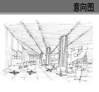 室内茶座手绘线稿