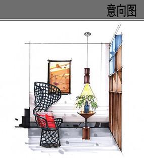 中式建筑彩色手绘
