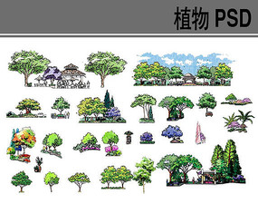 手绘植物PSD分层素材 PSD