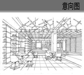 图书馆室内手绘线稿