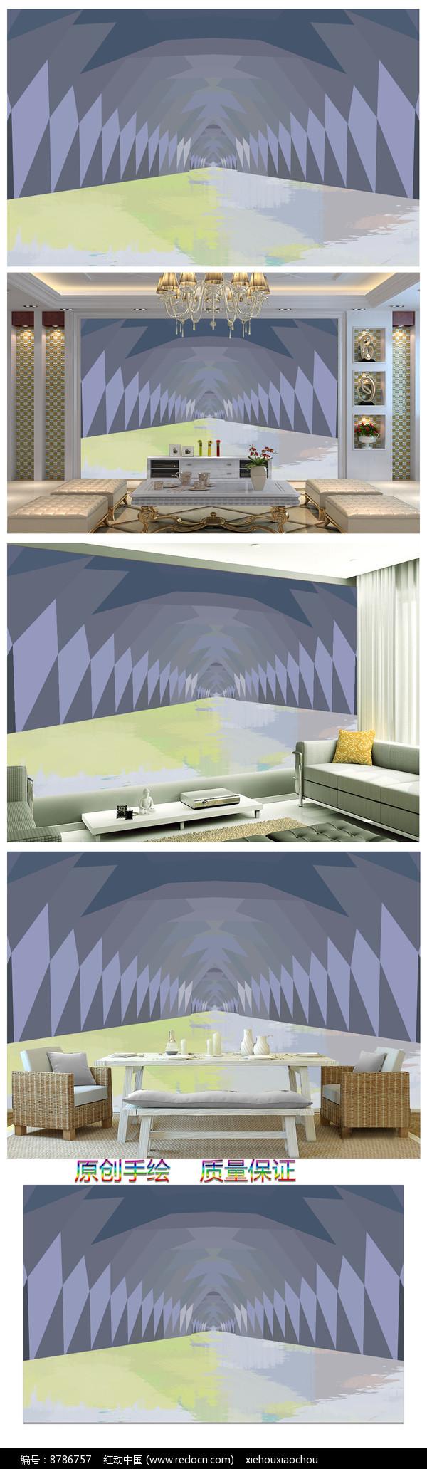 现代简约3D几何立体图案背景墙图片
