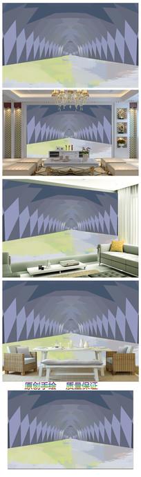 现代简约3D几何立体图案背景墙