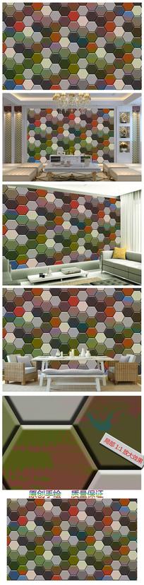 现代简约3D立体几何图案背景墙