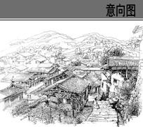 乡村风景钢笔手绘线稿 JPG