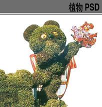 小熊植物雕塑ps素材