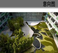 校园线性景观庭院意向 JPG