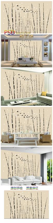 新中式水墨竹子墨竹背景墙