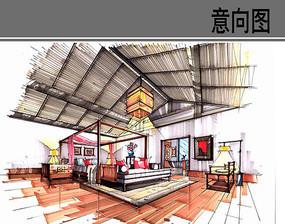 新中式卧室手绘效果图